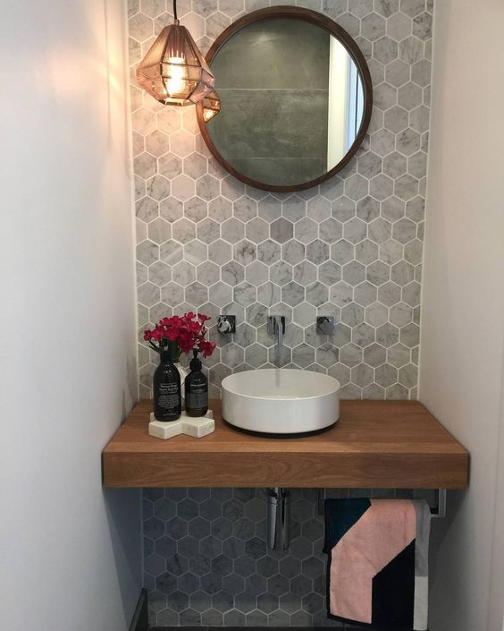 Fresh Modern Powder Room Reveal Keys To Inspiration: Just An Accent Can Make A Difference. This Lovely Powder