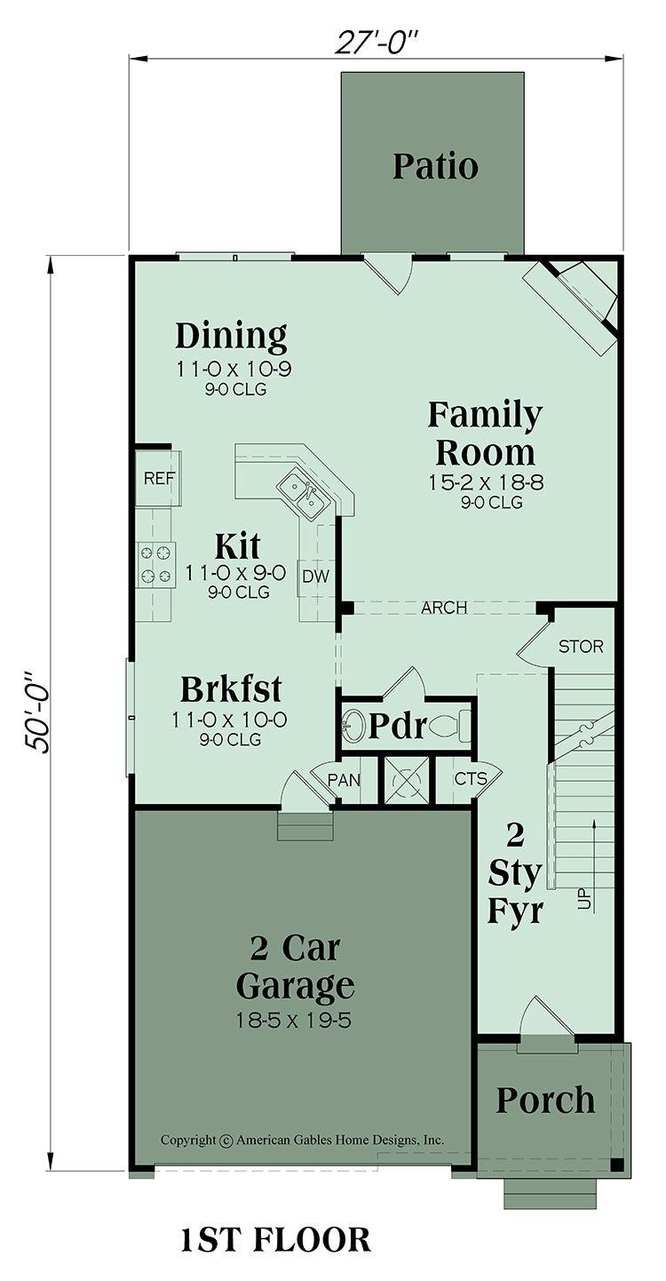 Floor Plan 1 Narrow Lot House Plans Floor Plans Interior Floor Plan