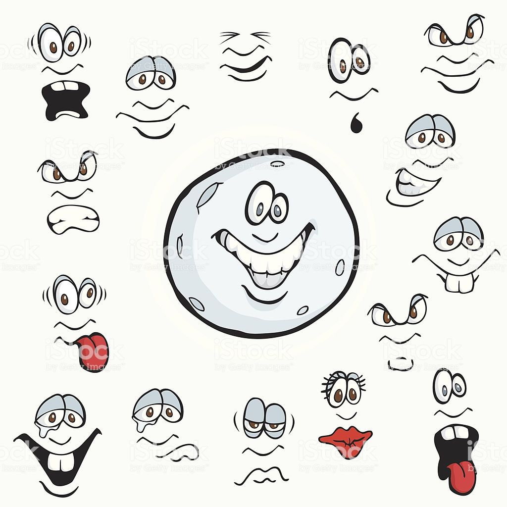 These Cartoon Faces Show Many Expressions Including Anger
