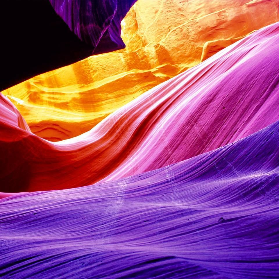 Vibrant contrasting images of the famous Arizona landmark. Beautiful blue, red, violet and orange diffuse in spectral coloring.