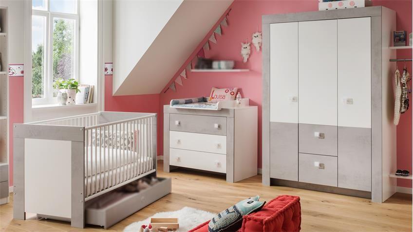 Babyzimmer Kiga 3 Teiliges Set In Weiss Und Beton Lichtgrau Babyzimmer Einrichtung Und Babyzimmer Set