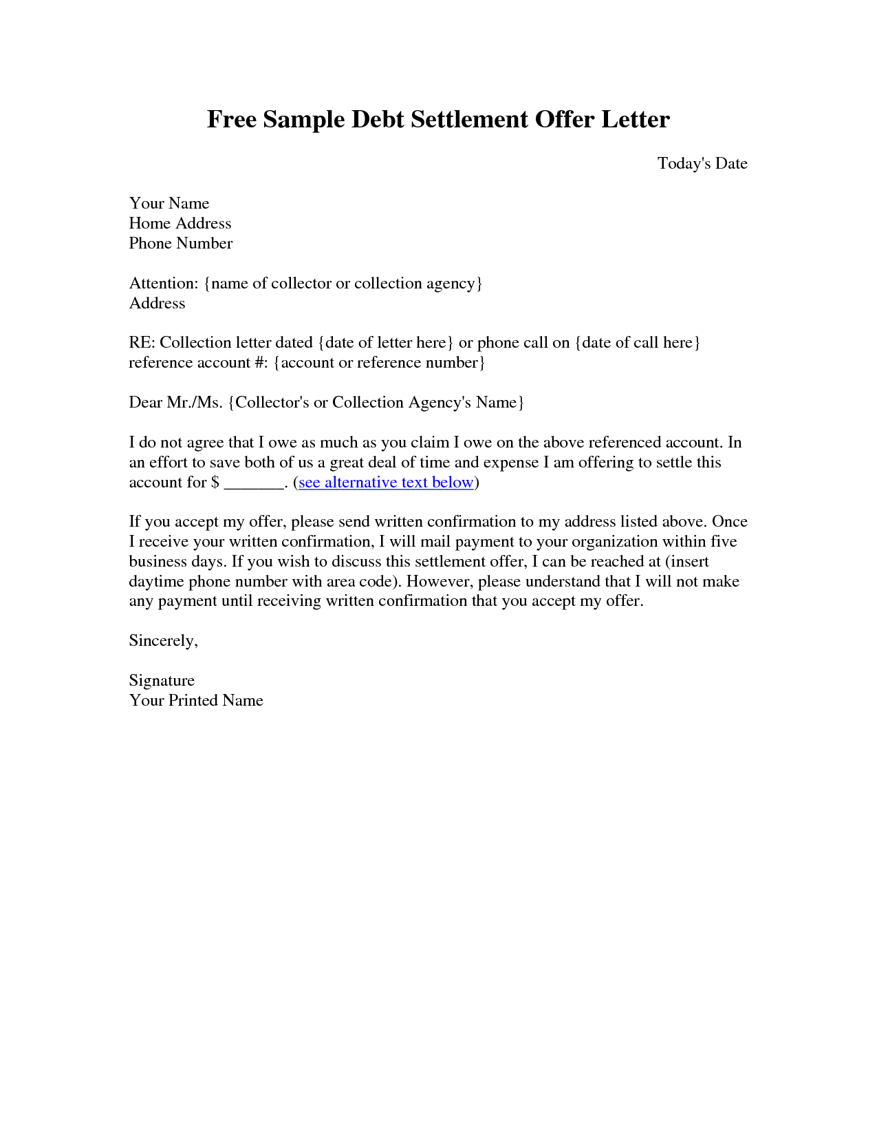 sample settlement letter debt settlement letter sample