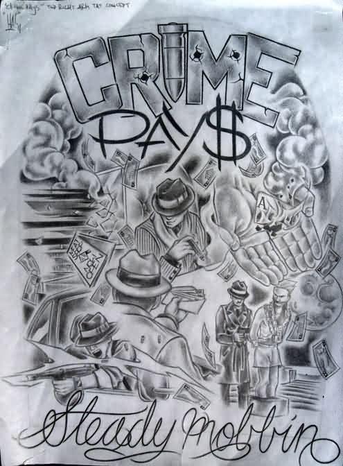 Gangster Tattoo Patterns : gangster, tattoo, patterns, Colorful, Gangsta, Clown, Tattoo, Design, Photo, Tattoos,, Gangster, Drawings