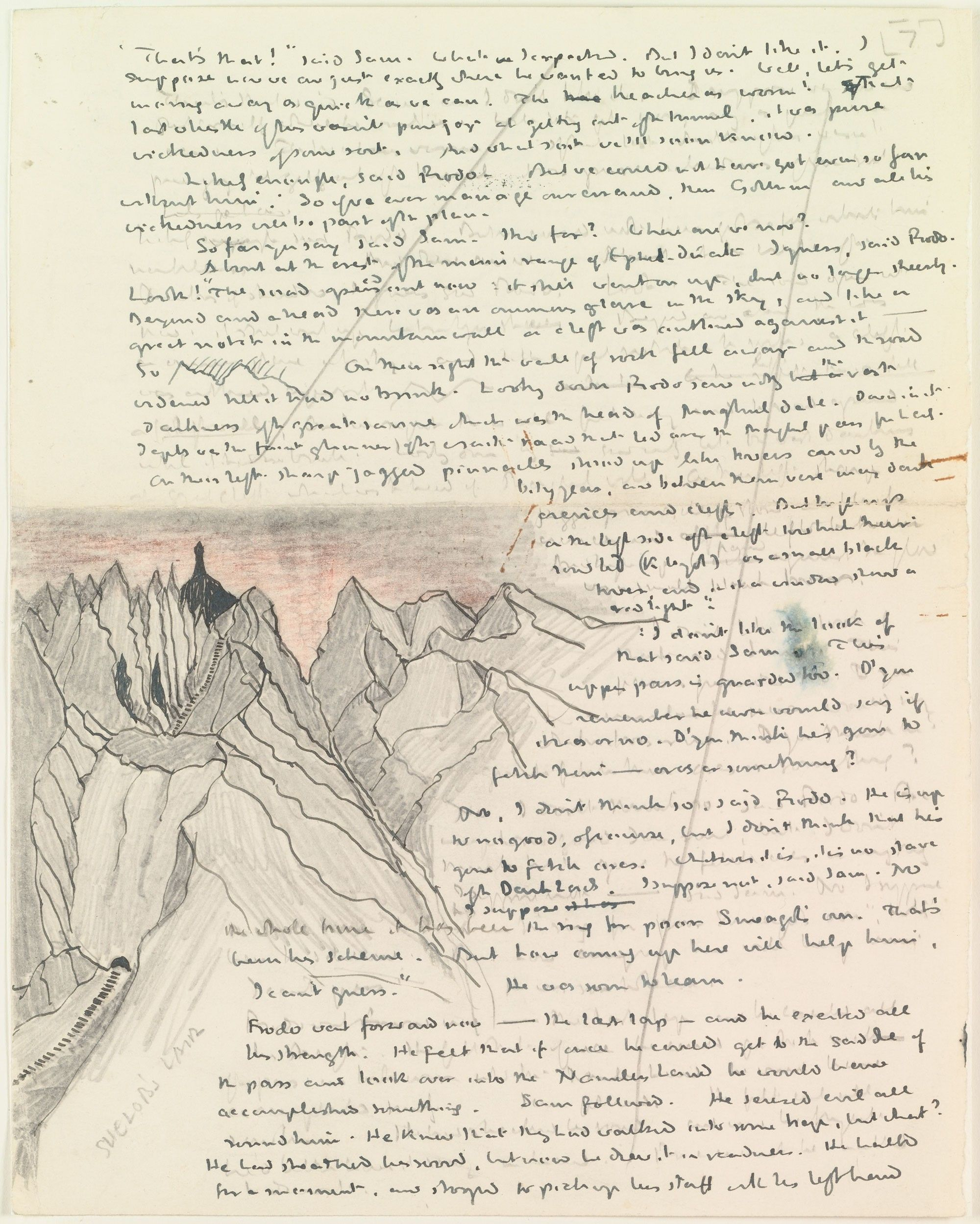 Illustrated Manuscript Page From Tolkien S Lord Of The Rings Con