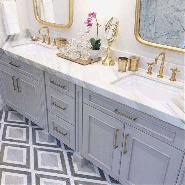 Pin On Home Bathroom Gray and gold bathroom decor