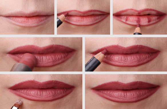 Use A Lip Brush To Blend The Lipstick Over The Drawn Out Lip Line