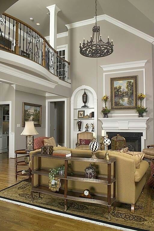 Family Picture Over Fireplace High Ceilings