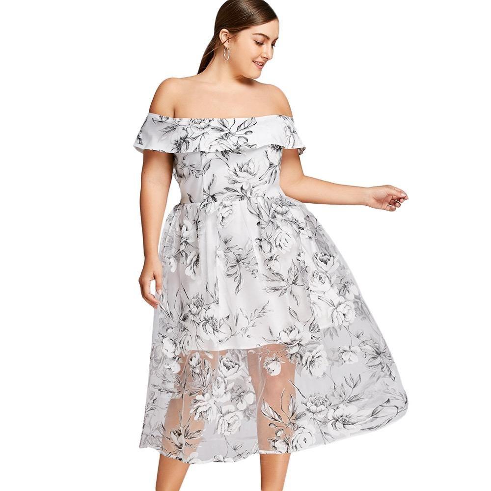 Plus Size Floral Off The Shoulder Tulle Dress Elegant White Dress White Off Shoulder Dress Dresses