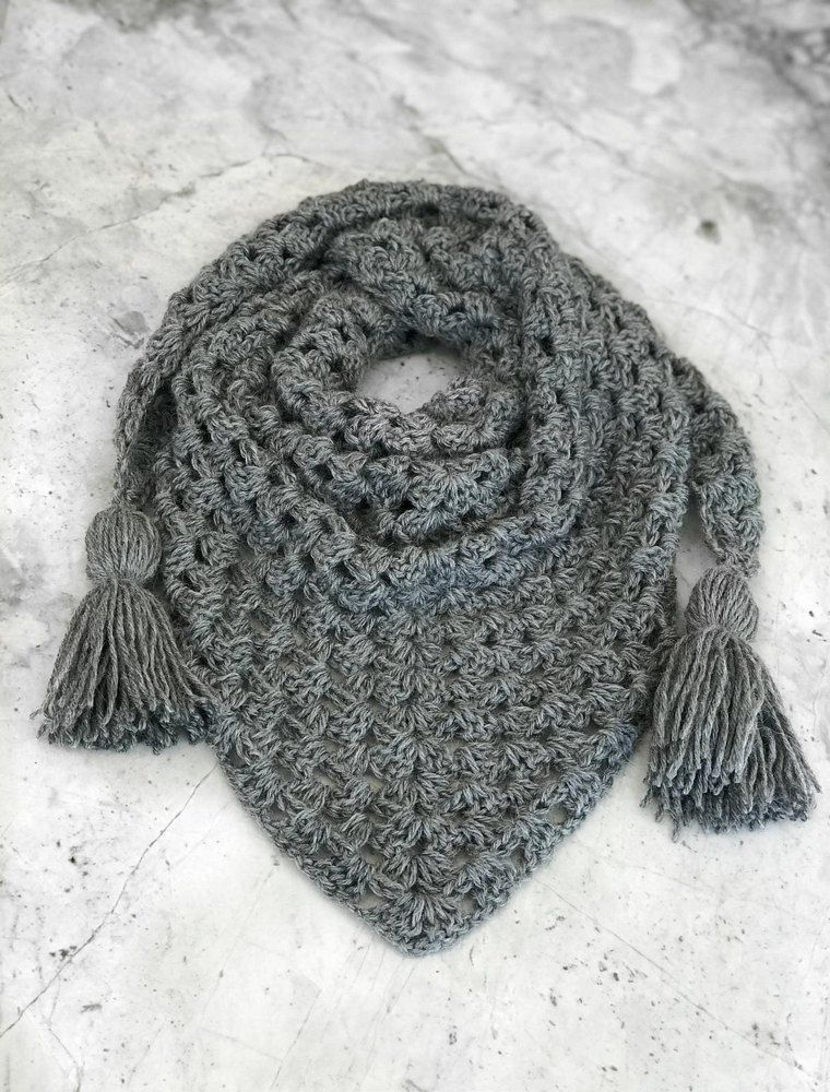 Granny Cluster Triangle Scarf Grey Pinterest Triangle Scarf