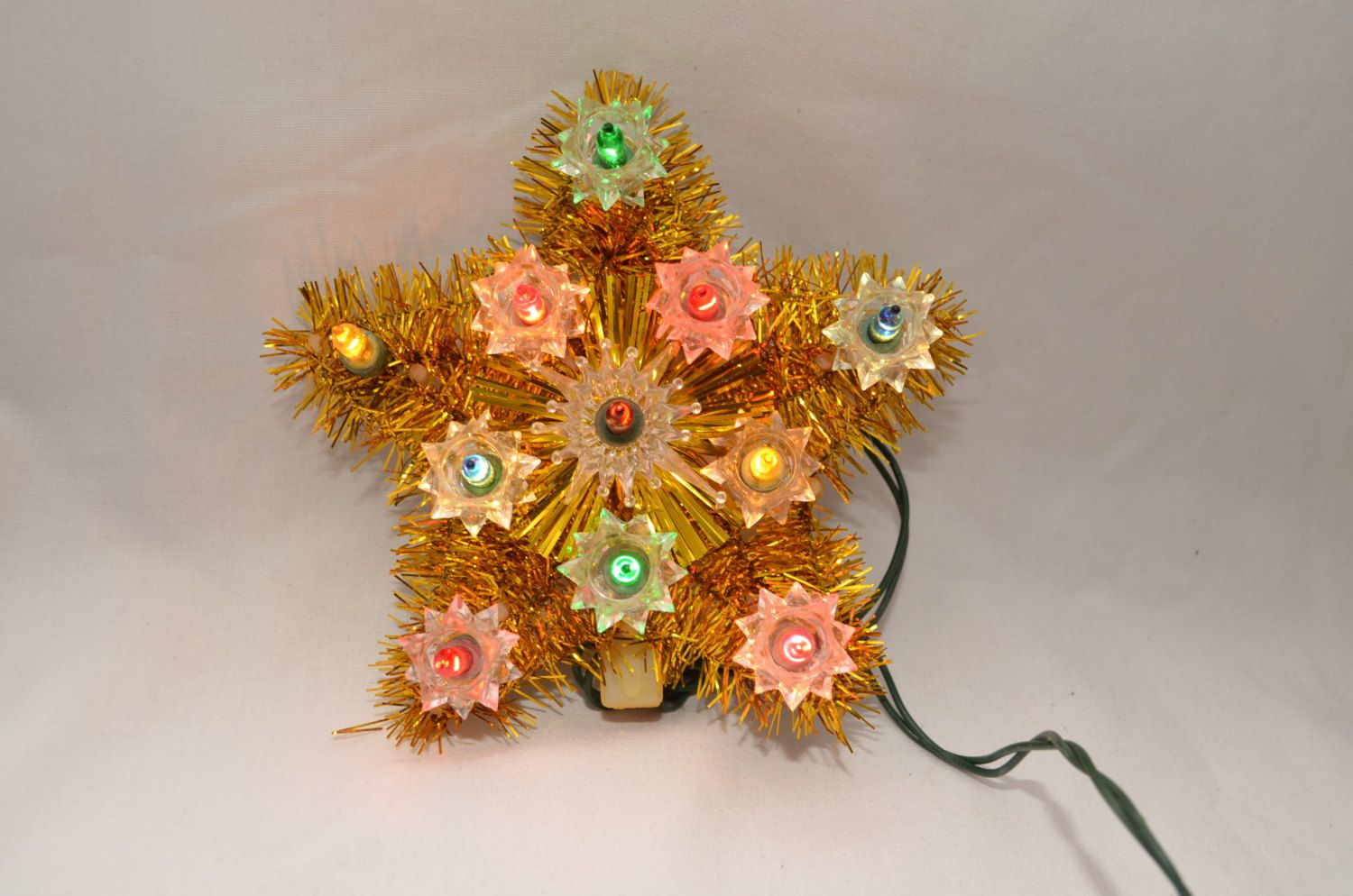 xmas sale! Vintage GOLD STAR Tree Topper with working