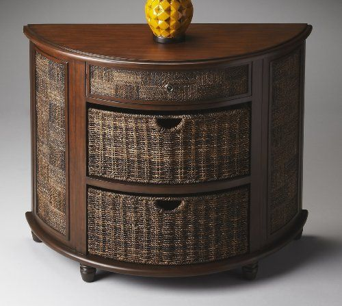 Butler Demilune Chest - Butler Loft Two pull-out baskets. One drawer. Provides abundant space. Made from hardwood and soft abacca rope. Warm walnut finish.