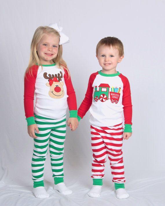Christmas pajamas santa girl kid child baby toddler infant applique embroidery monogram custom name santa xmas pjs