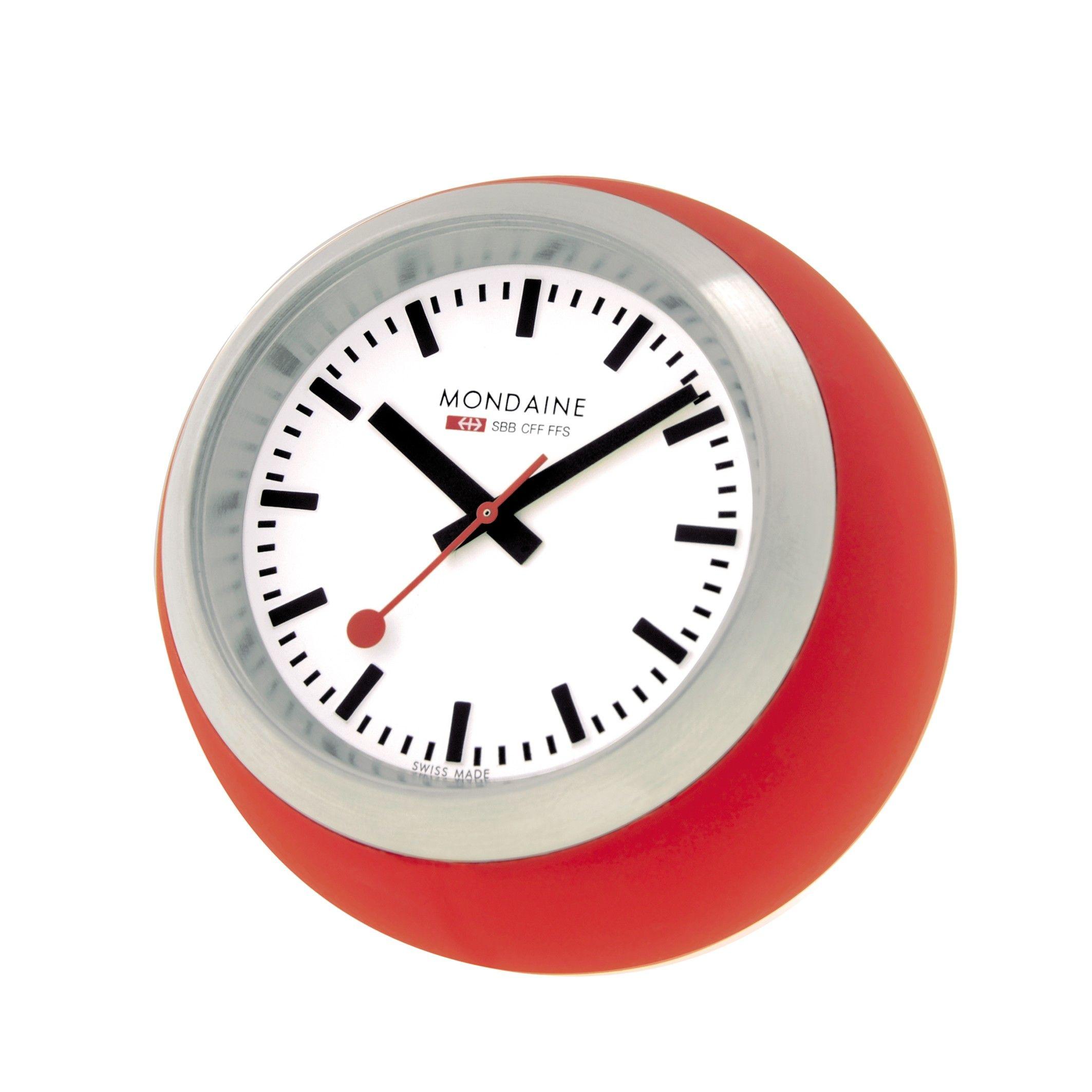 Mondaine Official Railways Globe Clock Red