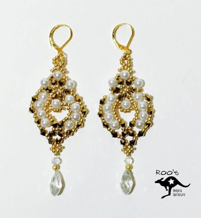 neu in meinem etsy shop goldene ohrringe mit echten perlen diy bead work jewelry