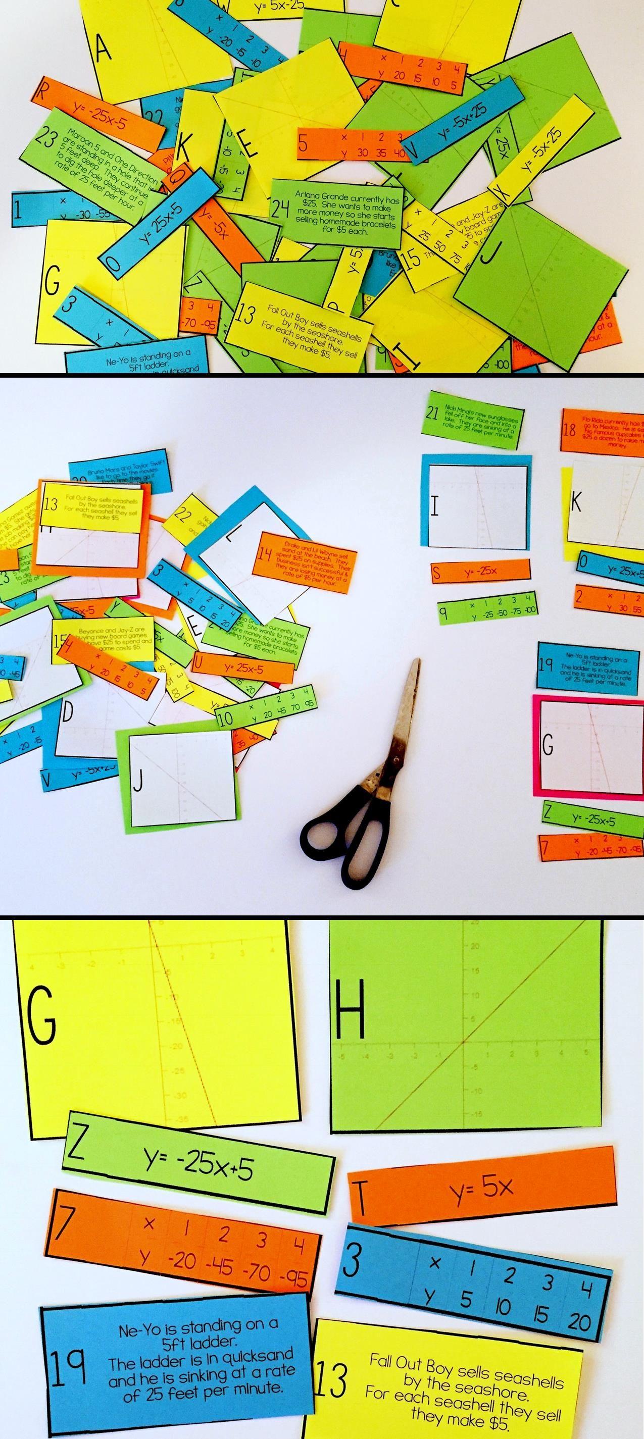 Linear equation card match slope intercept form math worksheets linear equation card match slope intercept form ibookread PDF