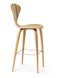 Cherner Red Gum Wood Base Modern Bar Or Counter Stool Side View Awesome Design