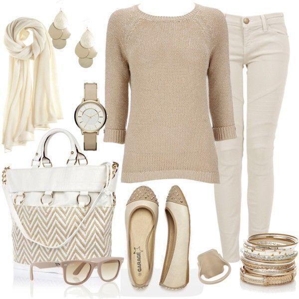 Jersey marrón + Pantalones blancos + Monoletinas marrones + Bolso marrón + Pañuelo blanco