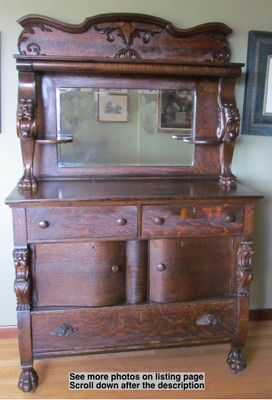 19th Century Victorian Sideboard W Carved Lions Beveled