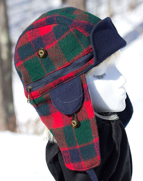 Reserved For Christie Custom Lumberjack Hat Winter Plaid Trapper Hat Red Tartan Plaid Bomber Hat Brushed Wool Hat For Women Winter Plaid Bomber Hat Trapper Hats