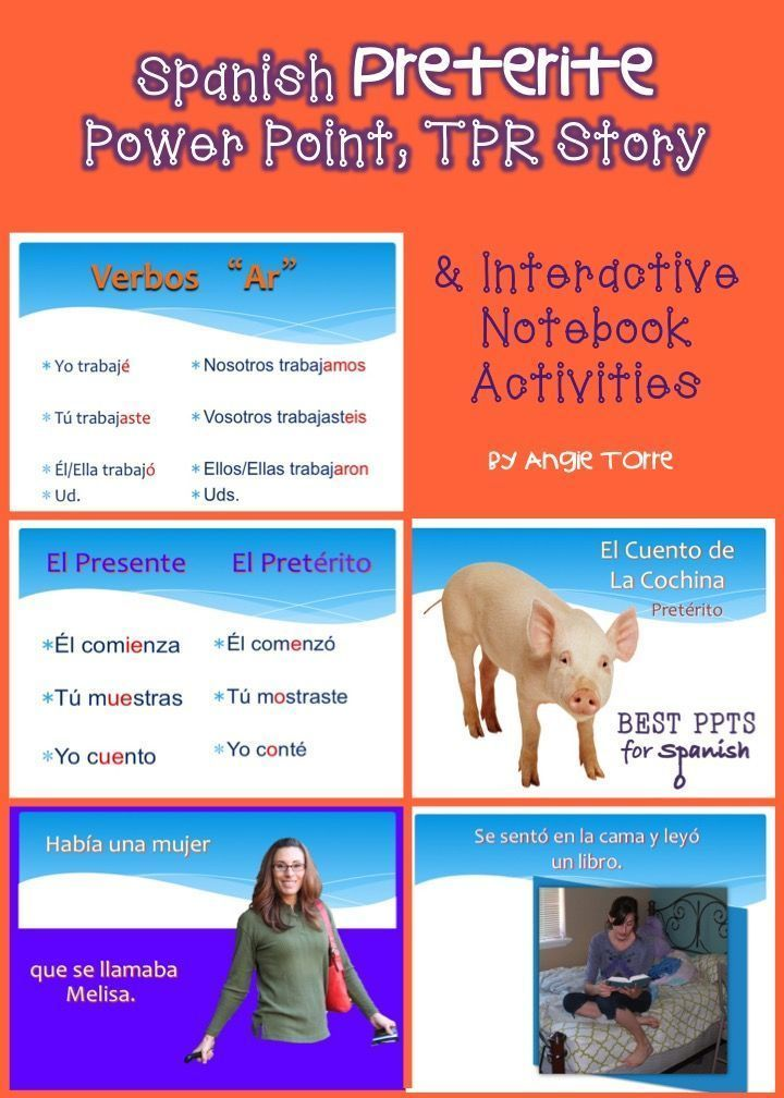 spanish preterite powerpoint, tpr story & interactive notebook, Powerpoint templates