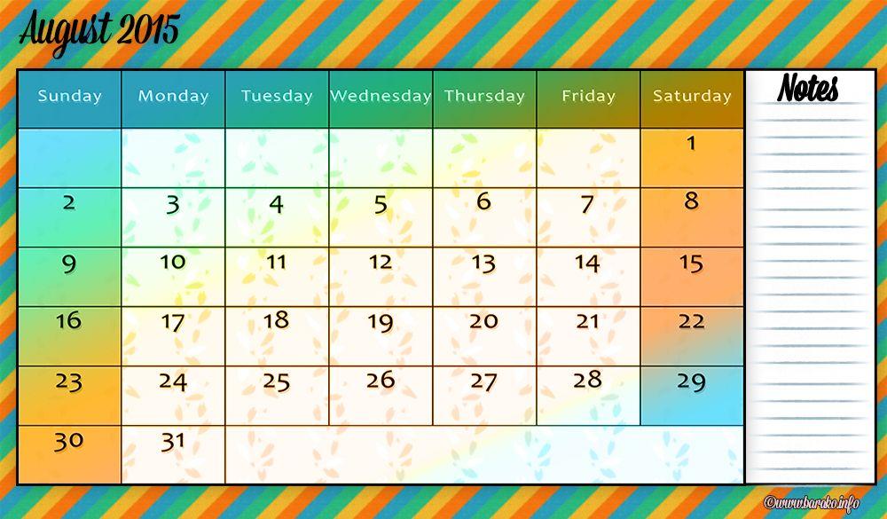 free printable august 2015 calendar word