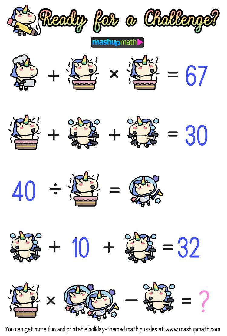Math Cartoons Unicorn Math Puzzles For Grades 1 6 Mashup Math Maths Puzzles Math Cartoons Math