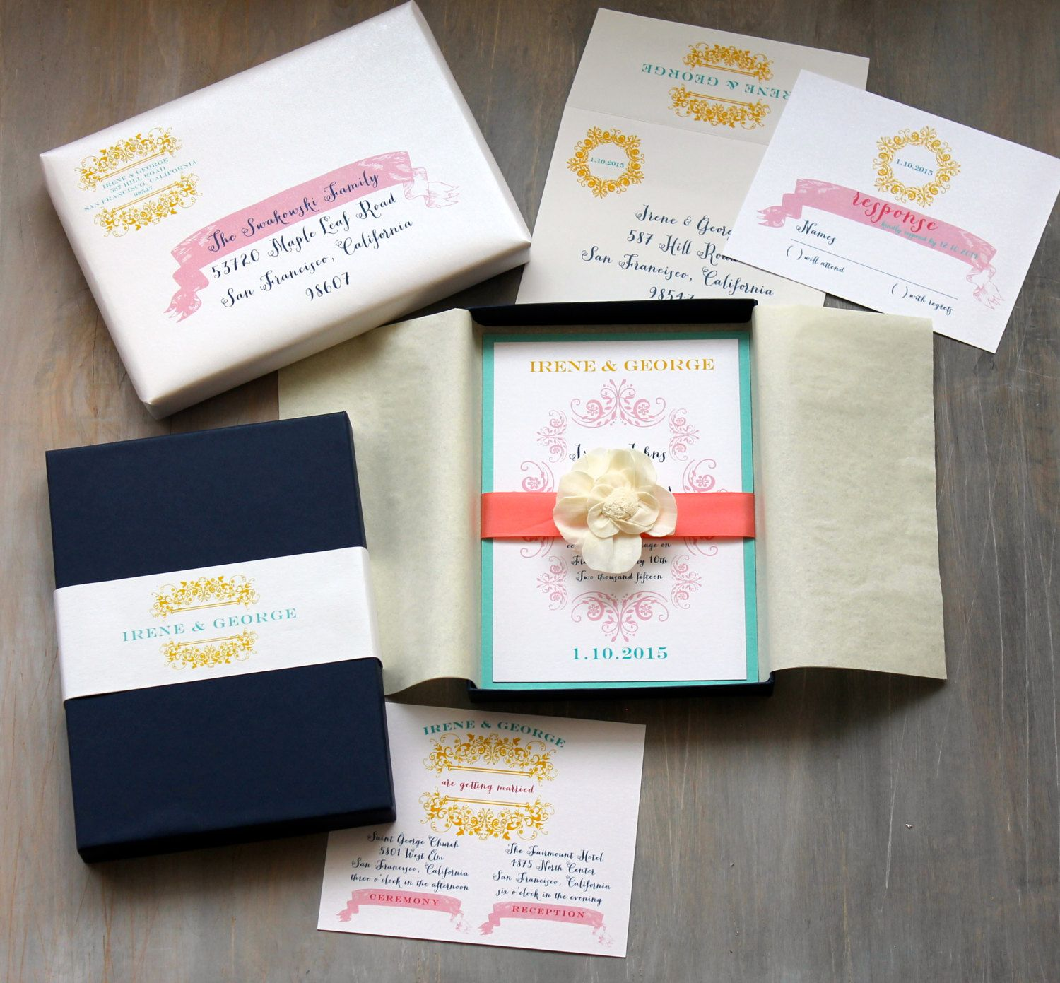 Modern Beach Box Wedding Invitations Navy Blue Yellow Coral