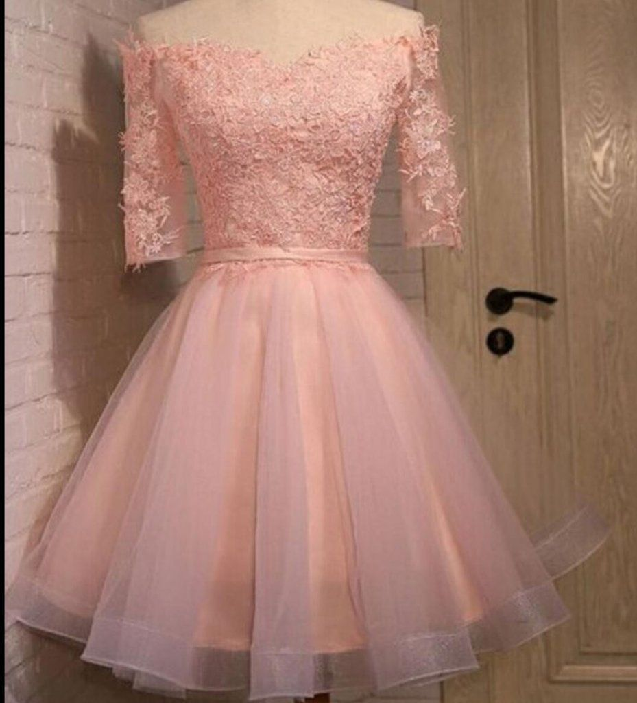 Long sleeve lace pink short homecoming prom dresses cm