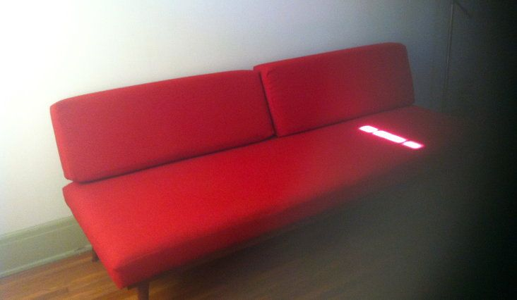 Mid-Century Daybed in Rich Red —