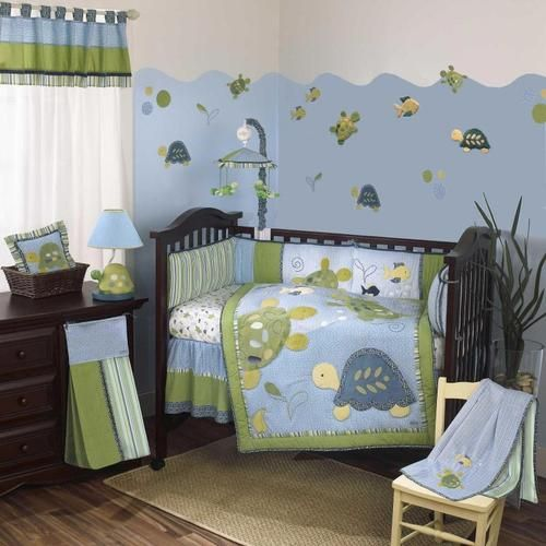 Sea Life Motif Print Gender Neutral Turtle Nursery 9p Fish Baby Crib Bedding Set Ebay