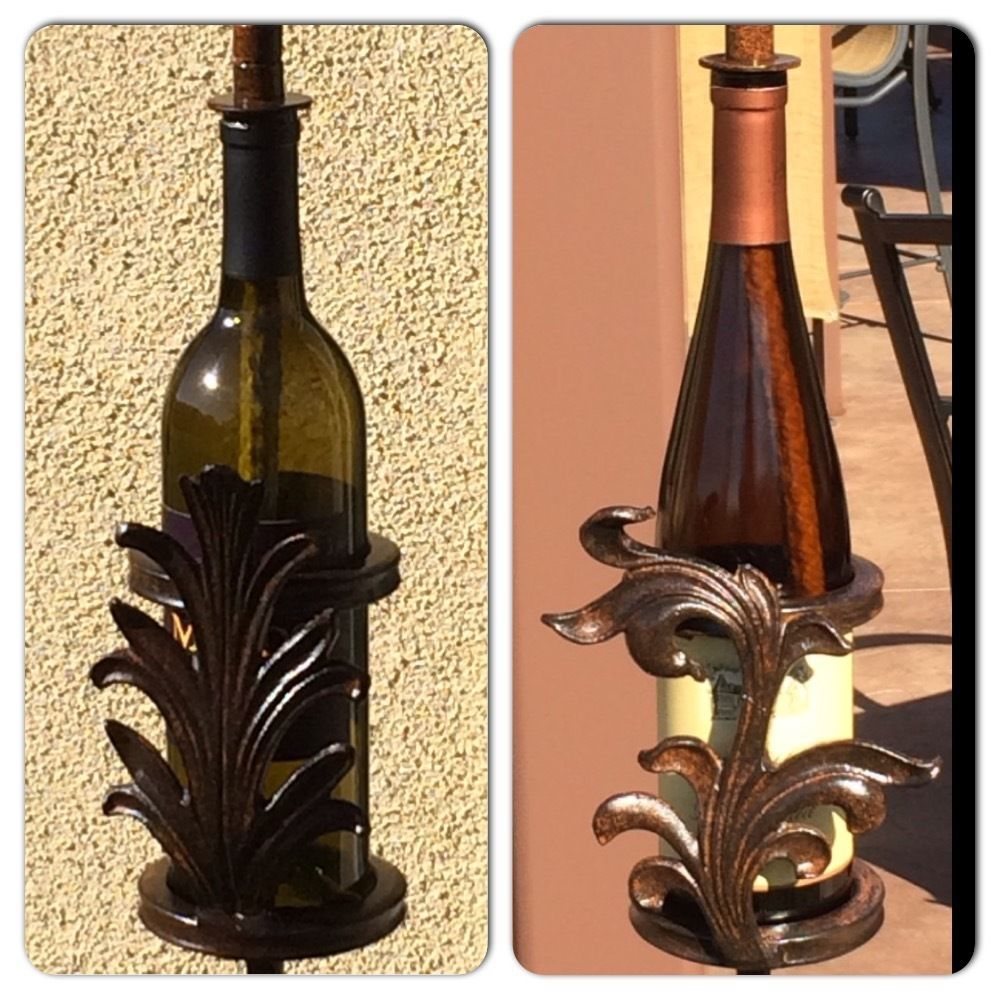 Tuscan Tiki Torch Stand Wrought Iron Scroll Leaf Wine Bottle Patio ...