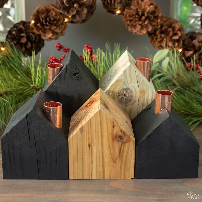 DIY Wood House Candle Holders There's something ab