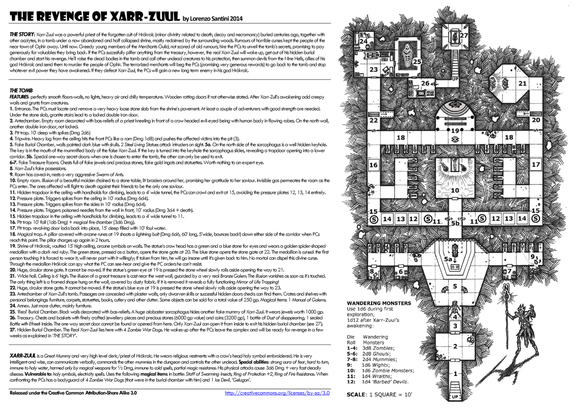 The Revenge Of Xarr Zuul By Lorenzo Santini 2nd Place Winner 2014 One Page Dungeon Contest Organized By Random Wizard Dungeon Maps Map Layout Fantasy Map