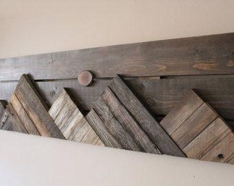 Wooden Mountain Wall Hanging By Outsideinwoodshop On Etsy Lesene