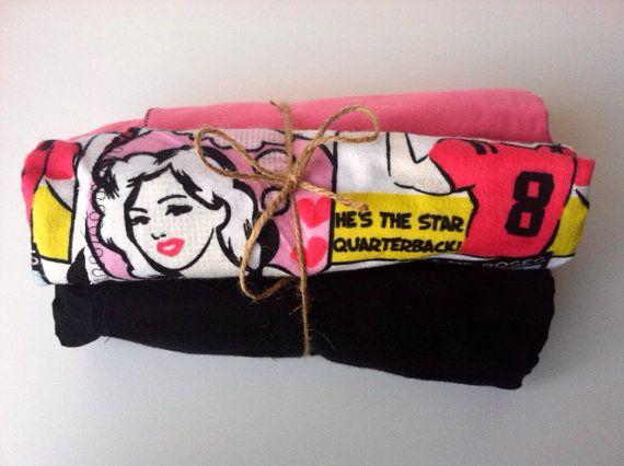 Comic girl pin up receiving blanket set swaddling on Etsy, $25.00