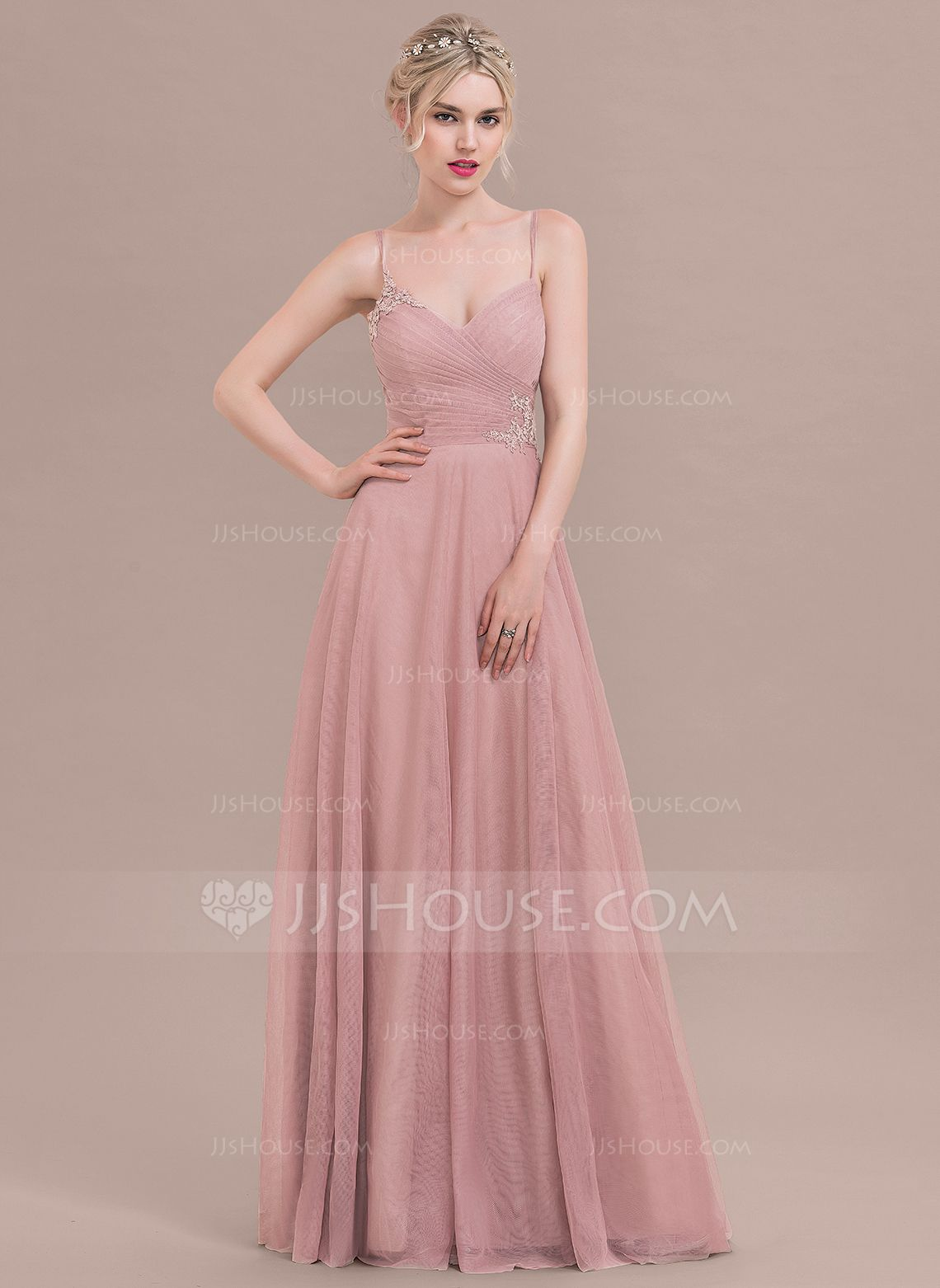 Vestidos princesa/ Formato A Longos Tule Vestido de madrinha com ...