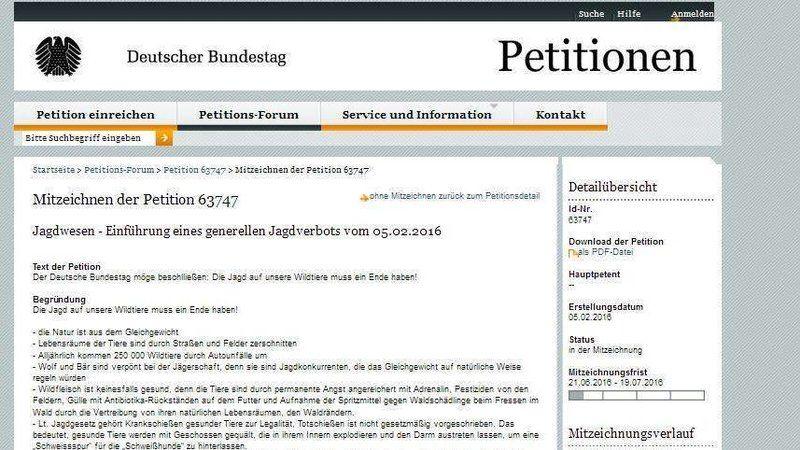 ACHTUNG!      Dies ist eine ergänzende Petition zur E-Petition zur Abschaffung der Jagd, die von Achim Richter unterstützt wird.     Bis zum 19.07. müssen 50 000 Unterschriften vorhanden sein, und die Sache läßt sich leider nur sehr zögerlich an.   Das Problem ist wie meistens, dass diese E-Petitionen...