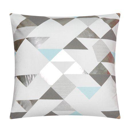 Mainstays Metallic Geo Black And White Throw Pillow Multicolor White Throw Pillows Throw Pillows Decorative Throw Pillows