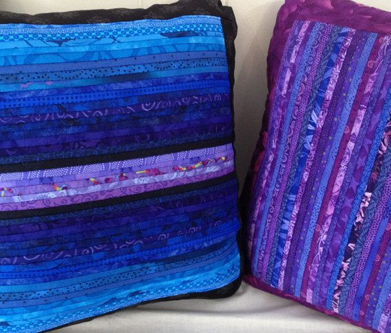 """Quilted pillow in blues and lavenders. Rich texture.16x16"""""""
