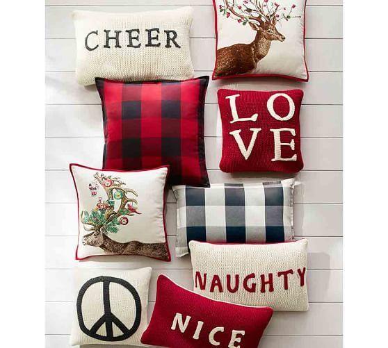 Buffalo Check Plaid Pillow Cover   Pottery Barn winter christmas pillow ideas