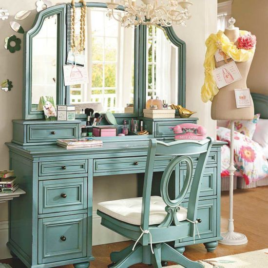 Smooth green bedroom vanity with drawers and mirror | closets ...