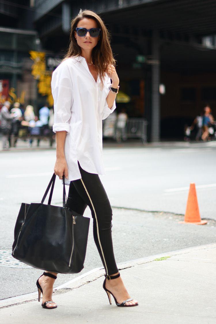 leather pants, oversize shirt, sandals, celine