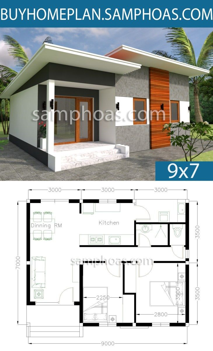 Plan 3d Home Design 9x7m 2 Bedrooms My House Plans House Layout Plans Modern House Plans
