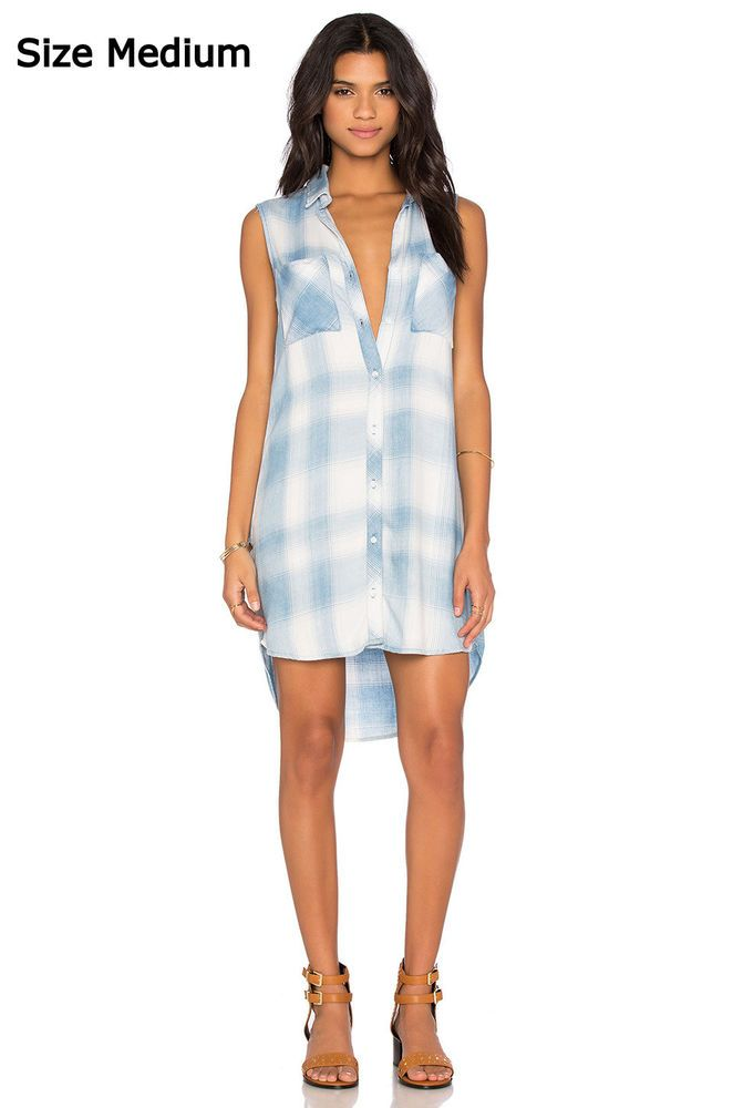 2cf4760b78 NEW Anthropologie Shirt Dress by Cloth & Stone Blue White Plaid Chambray  Tunic M #Anthropologie #AsymmetricalHemShiftShirtDressTunic #Casual