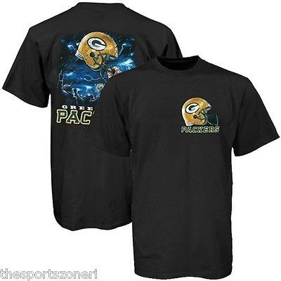 Green Bay Packers Sky Helmet Black T-Shirt Size Large Visit our website for more: www.thesportszoneri.com