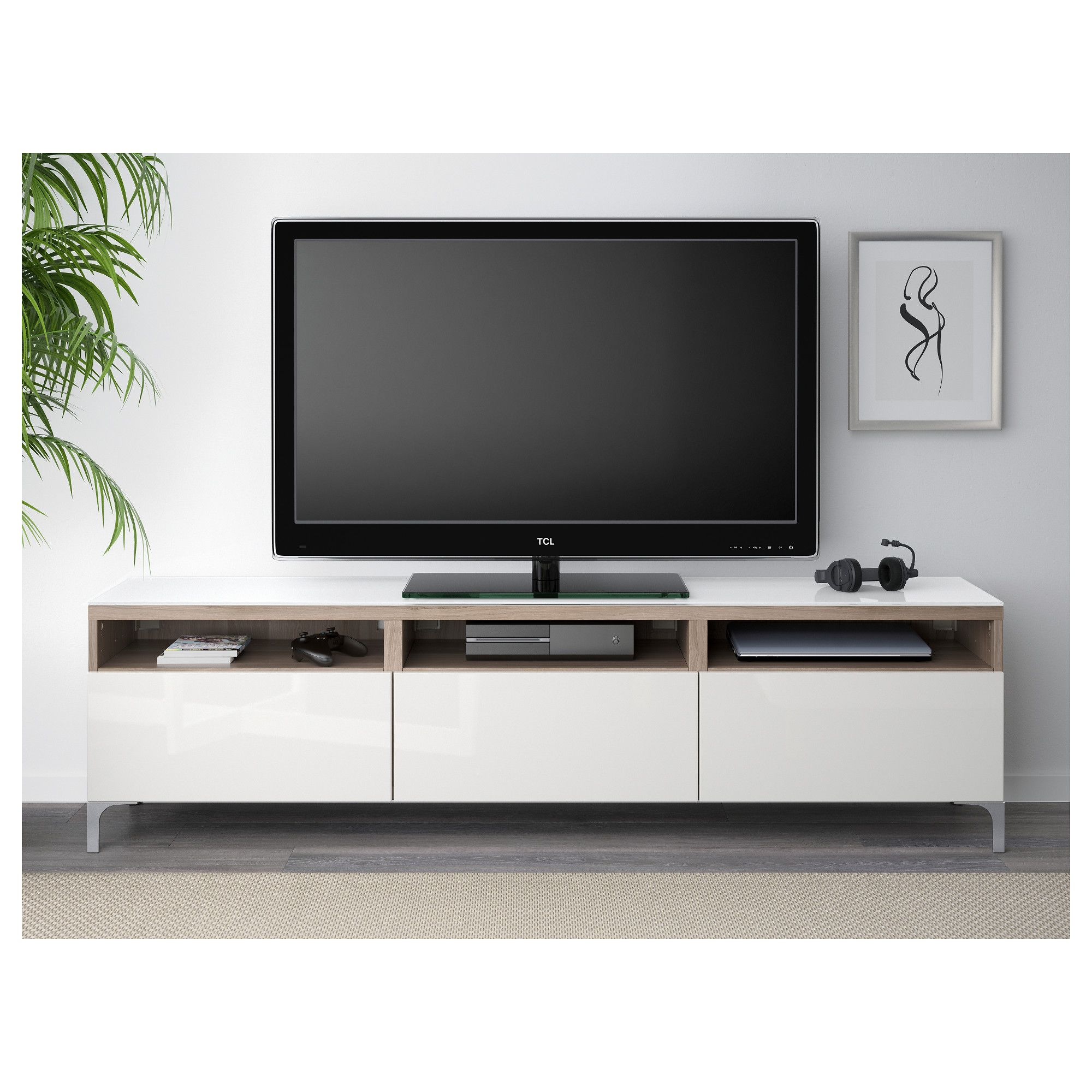 IKEA - BESTÅ TV unit with drawers walnut effect light gray ...