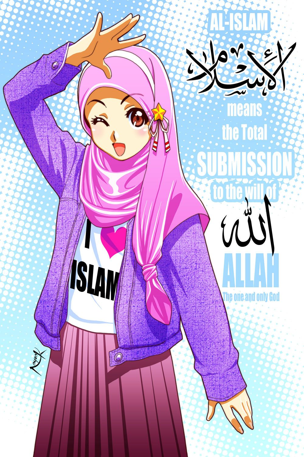 Islam Means By Nayzak On Deviantart Anime Muslimah Anime Muslim Hijab Cartoon