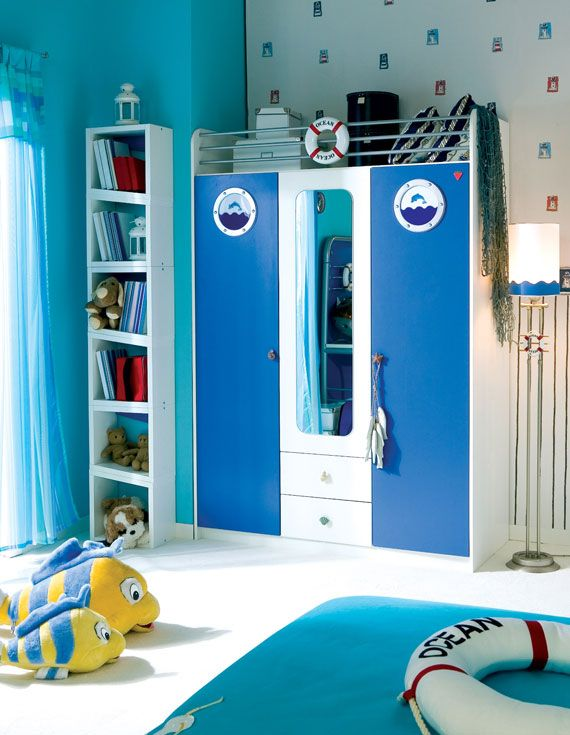 Cute Storage For Deeds Awesome Three Door Wardrobe With Ocean Theme Children