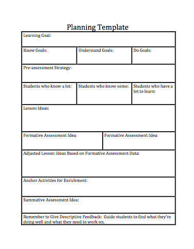 Common Core Planning Template  Teachers    Common