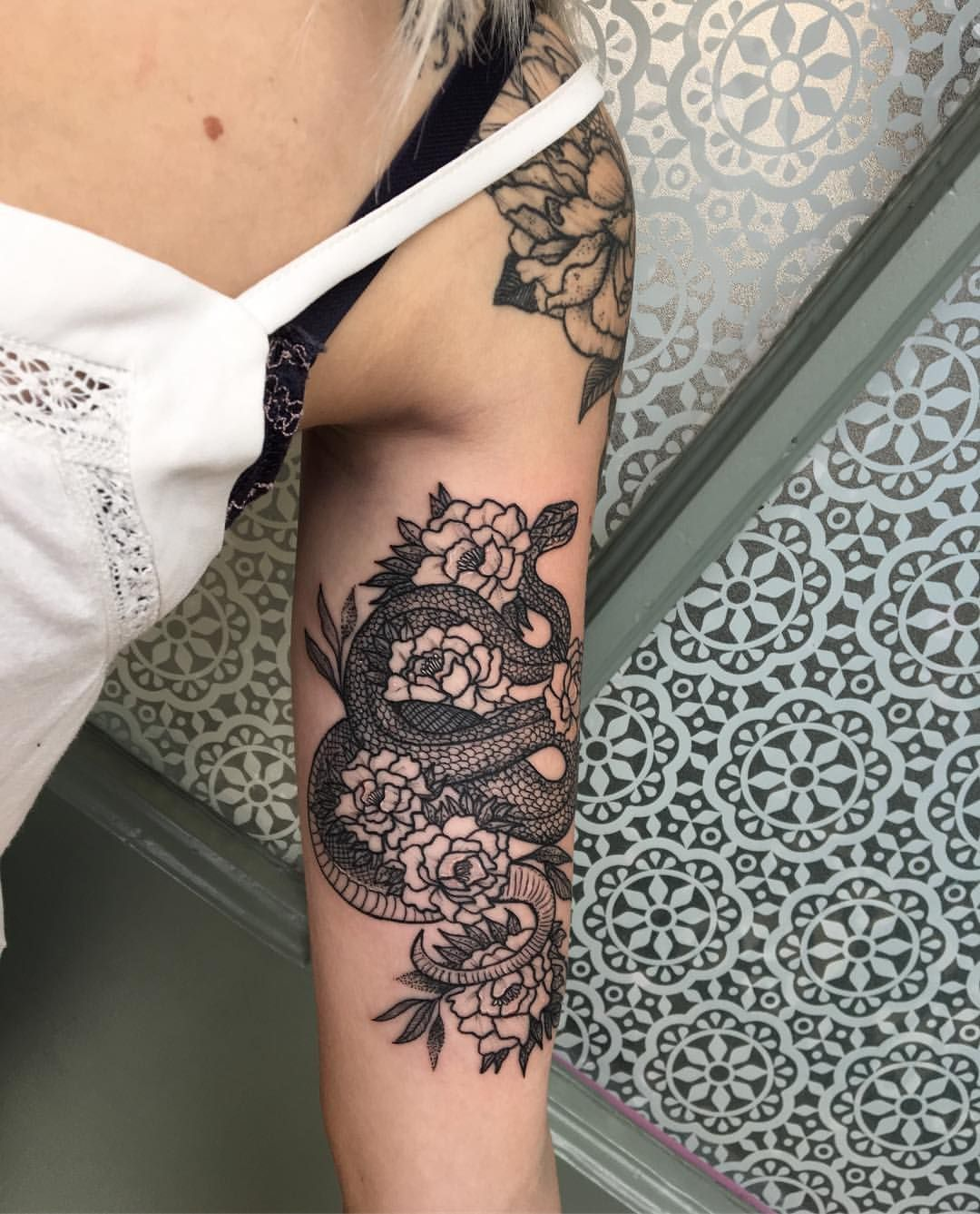 Snake And Flowers Added To Kendal S Arm Today Arm Tattoos For Women